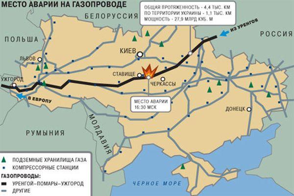 Газопровод через Украину взорван