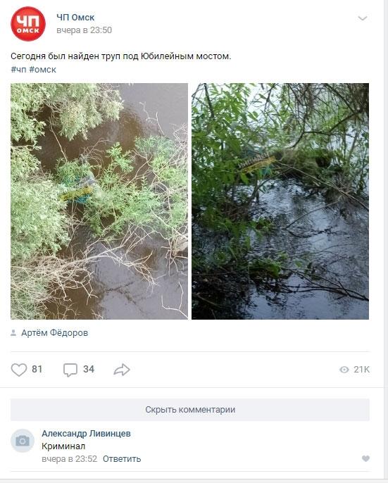 В Омске под Юбилейным мостом нашли утопленника