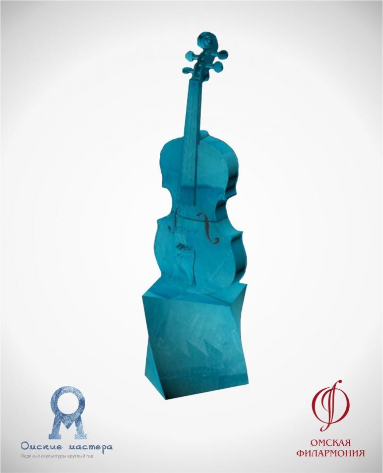Около омской филармонии появится полутораметровая ледяная скрипка